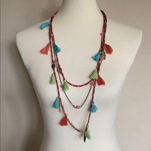 Jewelry - Layered tassel fringe Statement Necklace